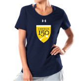 College Ladies Under Armour Navy Charged Cotton Tee-Sesqui Crest