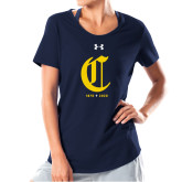 College Ladies Under Armour Navy Charged Cotton Tee-Retro Logo 3