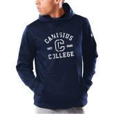 College Under Armour Navy Armour Fleece Hoodie-Retro Logo 1