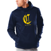 College Under Armour Navy Armour Fleece Hoodie-Retro Logo 3