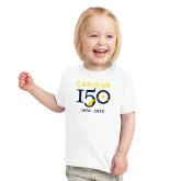 College Toddler White T Shirt-Sesqui Crest Dates