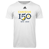 College Adidas Climalite White Ultimate Performance Tee-Sesqui Crest Dates