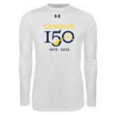 College Under Armour White Long Sleeve Tech Tee-Sesqui Crest Dates