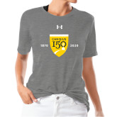 College Ladies Under Armour Heather Grey Triblend Tee-Sesqui Crest Dates