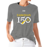 College Ladies Under Armour Heather Grey Triblend Tee-Sesqui Text