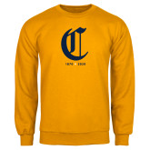 College Gold Fleece Crew-Retro Logo 3