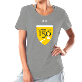 College Ladies Under Armour Grey Charged Cotton Tee-Sesqui Crest