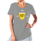 College Ladies Under Armour Grey Charged Cotton Tee-Sesqui Crest Dates