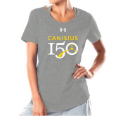 College Ladies Under Armour Grey Charged Cotton Tee-Sesqui Text