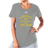 College Ladies Under Armour Grey Charged Cotton Tee-Retro Logo 1