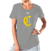 College Ladies Under Armour Grey Charged Cotton Tee-Retro Logo 3