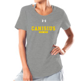 College Ladies Under Armour Grey Charged Cotton Tee-Retro Logo 4