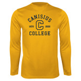 College Performance Gold Longsleeve Shirt-Retro Logo 1