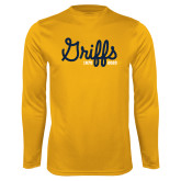 College Performance Gold Longsleeve Shirt-Retro Logo 2