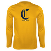 College Performance Gold Longsleeve Shirt-Retro Logo 3