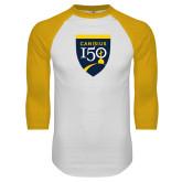 College White/Gold Raglan Baseball T Shirt-Sesqui Crest
