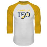 College White/Gold Raglan Baseball T Shirt-Sesqui Text