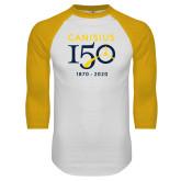 College White/Gold Raglan Baseball T Shirt-Sesqui Crest Dates