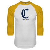 College White/Gold Raglan Baseball T Shirt-Retro Logo 3