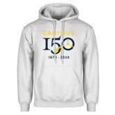 College White Fleece Hoodie-Sesqui Crest Dates