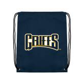 Navy Drawstring Backpack-Griffs Wordmark