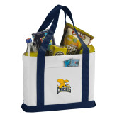 Contender White/Navy Canvas Tote-Canisius w/ Griff Stacked