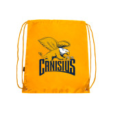 Gold Drawstring Backpack-Canisius w/ Griff Stacked