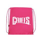 Pink Drawstring Backpack-Griffs Wordmark