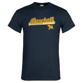 Navy T Shirt-Baseball Script w/ Bat Design