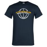 Navy T Shirt-Basketball Ball Design