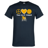 Navy T Shirt-Peace, Love and Volleyball Design