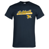 Navy T Shirt-Script Softball w/ Bat Design