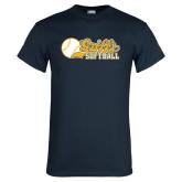 Navy T Shirt-Script Softball w/ Ba Design