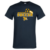 Navy T Shirt-Soccer Swoosh Design
