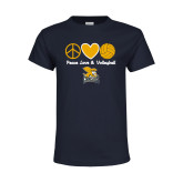 Youth Navy T Shirt-Peace, Love and Volleyball Design