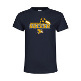 Youth Navy T Shirt-Soccer Swoosh Design