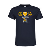Youth Navy T Shirt-Just Kick It Soccer Design