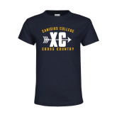 Youth Navy T Shirt-Cross Country Design