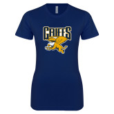 Next Level Ladies SoftStyle Junior Fitted Navy Tee-Griffs w/ Griff Stacked