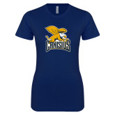Next Level Ladies SoftStyle Junior Fitted Navy Tee-Canisius w/ Griff Stacked
