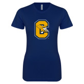 Next Level Ladies SoftStyle Junior Fitted Navy Tee-Capital C Griffs