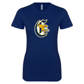 Next Level Ladies SoftStyle Junior Fitted Navy Tee-Old English C Griffs