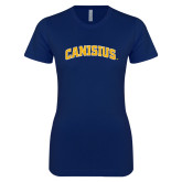 Next Level Ladies SoftStyle Junior Fitted Navy Tee-Arched Canisius