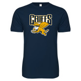 Next Level SoftStyle Navy T Shirt-Griffs w/ Griff Stacked