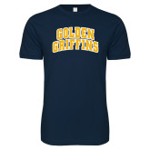 Next Level SoftStyle Navy T Shirt-Arched Golden Griffins