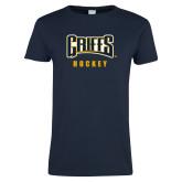 Ladies Navy T Shirt-Hockey