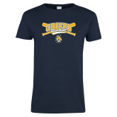 Ladies Navy T Shirt-Baseball Crossed Bats Design