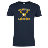 Ladies Navy T Shirt-Lacrosse Crossed Sticks Design