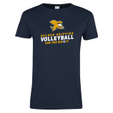 Ladies Navy T Shirt-Can You Dig It - Volleyball