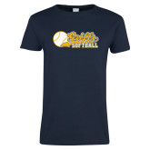 Ladies Navy T Shirt-Script Softball w/ Ba Design